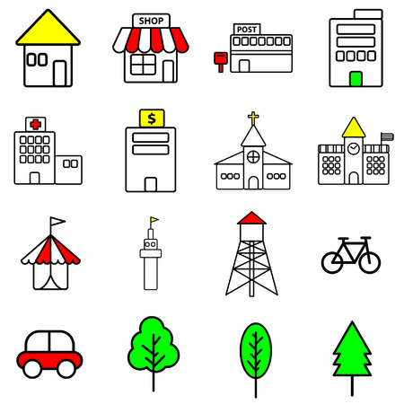 Simple color line icon of urban building on white background