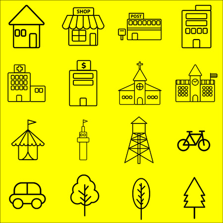 post office building: Simple black line icon of urban building on yellow background