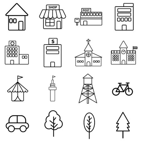 tent city: Simple black line icon of urban building on white background