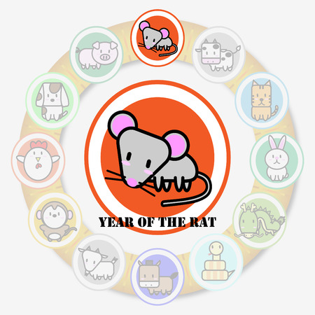 year of rat: ?Year of Rat Circle animal sign of chinese zodiac fortune in asian culture