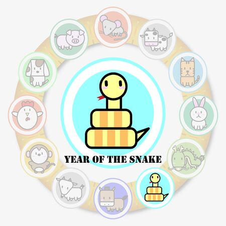 snake year: ?Year of Snake and Circle animal sign of chinese zodiac fortune in asian culture