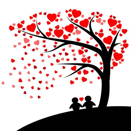 Tree of red hearts on white background