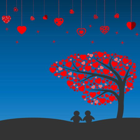 under heart: Night scene with silhouette lovely couple under the tree of heart vector icon
