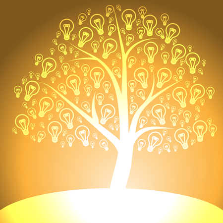 date night: Yellow tree of light bulb icon on yellow background Illustration