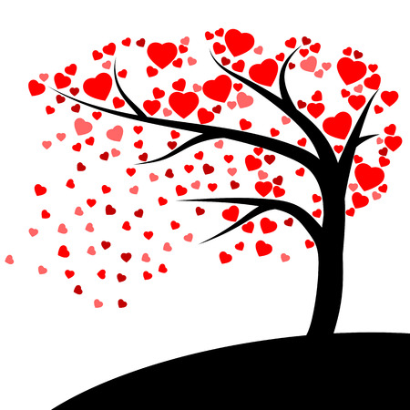 Tree of red hearts on white background Illustration