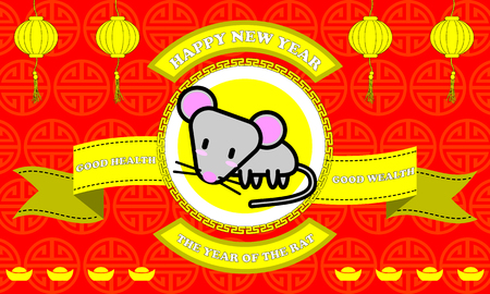 year of the rat: Happy new year of Rat year on Red background and golden ribbon with good word for life Illustration