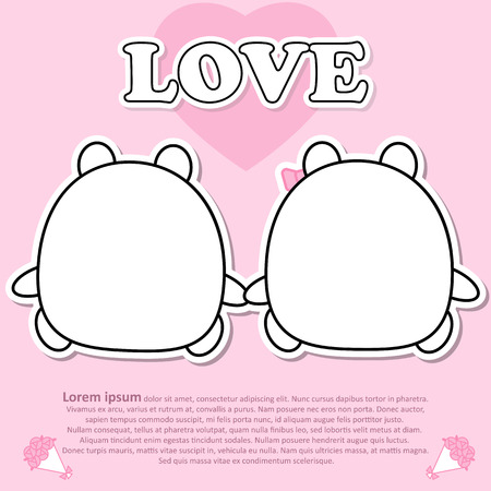 Backside view of Lovely couple cute bear hold the hands together in Valentine concept