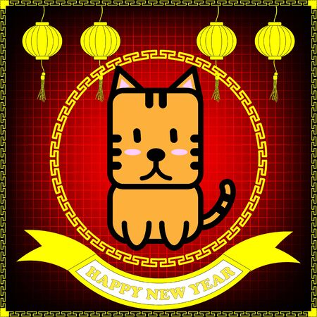 year of the tiger: Happy new year of Tiger year on red grid background and hanging lantern
