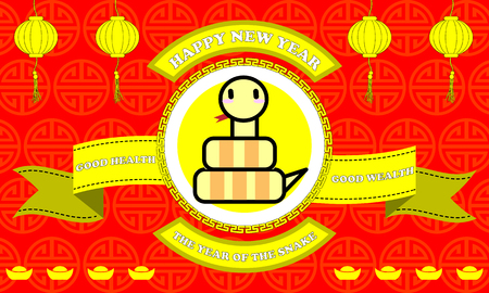 Happy new year of Snake year on Red background and golden ribbon with good word for life