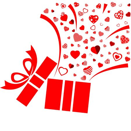 Opened red present box with variety red heart on white background