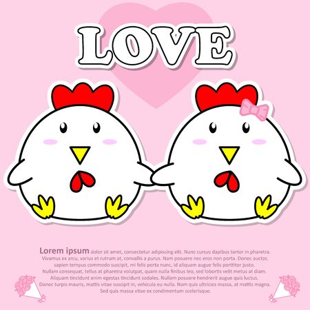 Lovely couple cute Cock hold hands together in Valentine and paper cut sticker concept