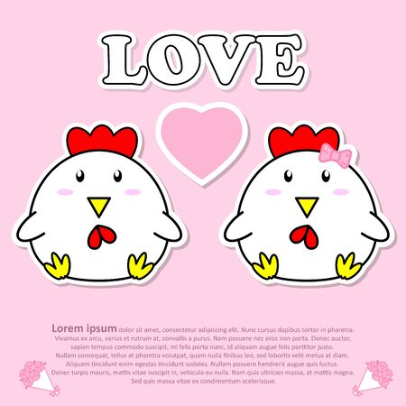 Lovely couple cute cock with pink heart in Valentine concept