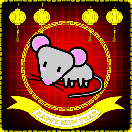 Happy new year of Rat year on red grid background and hanging lantern