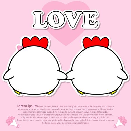 Backside view of Lovely couple cute hold hands together in Valentine and paper cut sticker concept