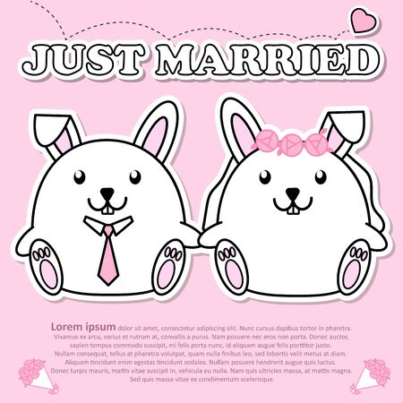Lovely couple cute Rabbit just married in Valentine and paper cut sticker concept  イラスト・ベクター素材