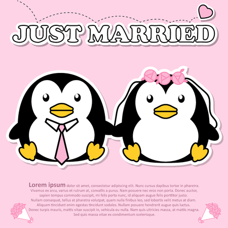 Lovely couple cute penguin just married wear tie and bouquet of pink rose flower in Valentine and paper cut sticker concept