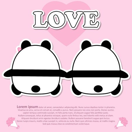 Backside view of Lovely couple cute panda hold the hands together in Valentine and paper cut sticker concept