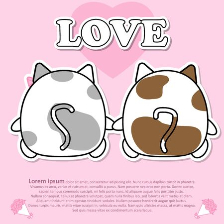 Backside view of Lovely couple cute cat hold the hands together in Valentine and paper cut sticker concept Illustration