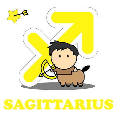 Sagittarius cartoon with Big Zodiac sign icon vector isolated on white background Illustration
