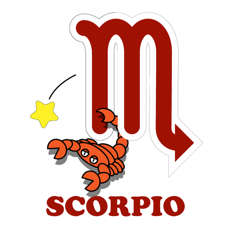 divination: Scorpio cartoon with Big Zodiac sign icon vector isolated on white background Illustration