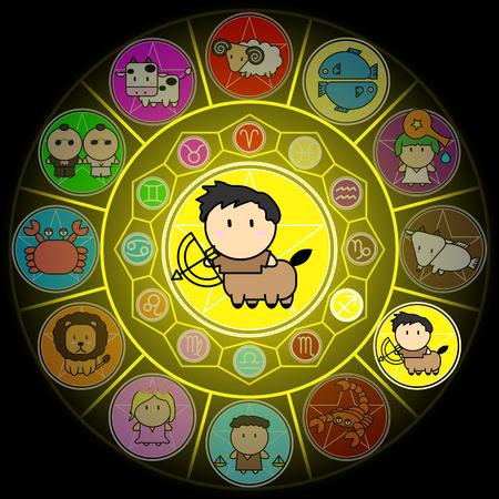 Sagittarius Zodiac in Center Circle of horoscope signs Cartoon icon vector on black background
