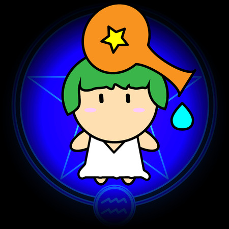 Cartoon sign zodiac of Aquarius vector icon on dark blue star background Illustration