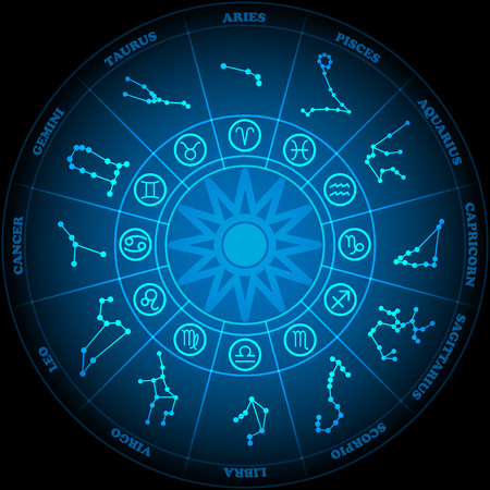 wheel of fortune: Astronomy of Zodiac Circle with zodiac signs icon vector on black background Illustration