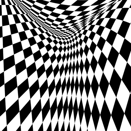 Black and white checkered curve pattern design for abstract background concept Stock Photo