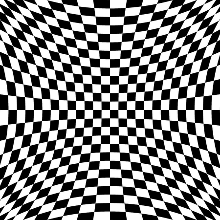 checkerboard backdrop: Black and white checkered curve pattern design for abstract background concept Illustration