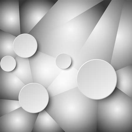 3d white paper circle label on mosaic grey abstract design background concept
