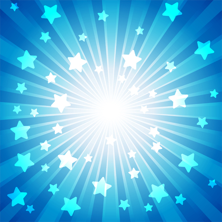 Blue burst with many white stars for abstract vector design background concept