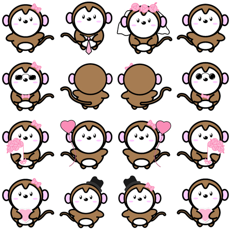 charactor: Lovely cute couple cartoon monkey collection set with variety charactor isolate vector icon Illustration