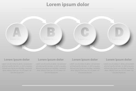 Four simple white 3D paper circles in sequence for website presentation cover poster vector design infographic illustration concept Illustration
