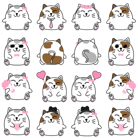 charactor: Lovely cute couple cartoon cat collection set with variety charactor isolate vector icon