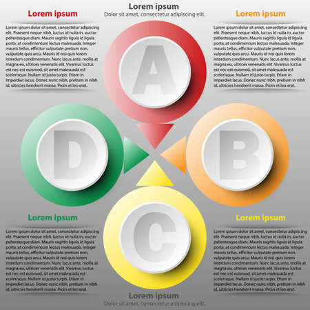 Colorful 3d paper circle of four topics for website presentation cover poster vector design infographic illustration concept