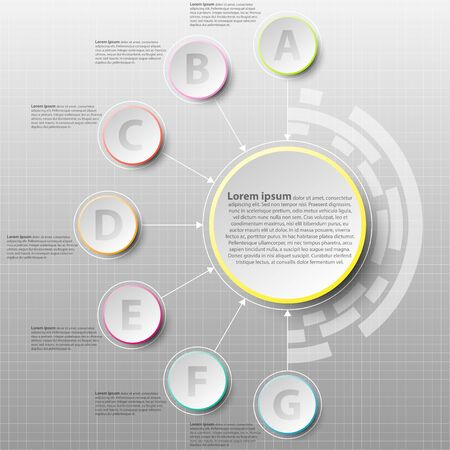 Coloful paper circle with seven topics for website presentation cover poster vecteur conception infographique illustration concept