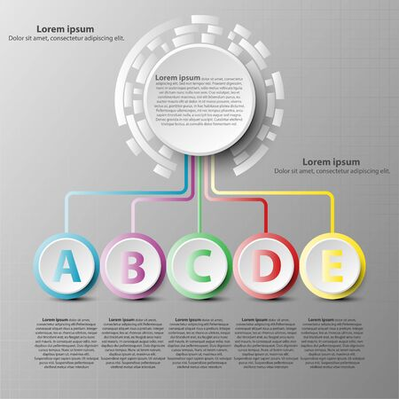 Coloful 3d paper circle with five topics for website presentation cover poster vector design infographic illustration concept Illustration