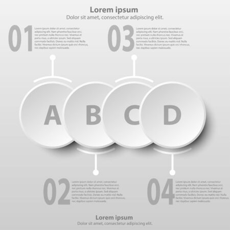 Four simple white 3d paper circles for website presentation cover poster vector design infographic illustration concept Illustration