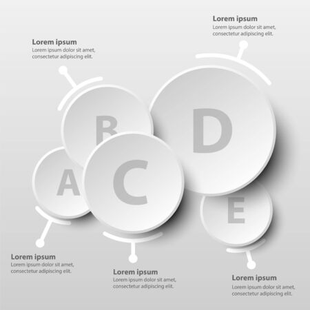 Five simple white 3d paper circles overlap website presentation cover poster vector design infographic illustration concept Illustration