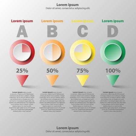 Coloful 3d paper circle avec niveau de pourcentage pour présentation de site web poster vecteur conception infographique illustration infographique concept