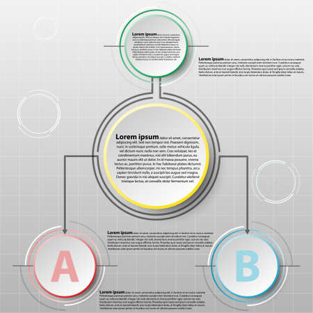 Vector infographics design template with 3D circle paper séparé 2 articles pour contenu business infographic concept graphic design idea Illustration