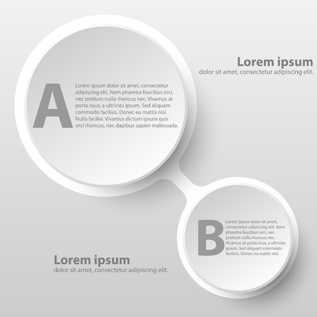 Cycle de papier 3d blanc simple avec deux sujets pour la présentation du site Web Affiche Conception de vecteur Concepteur d'illustration infographique