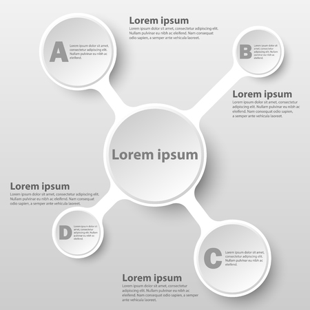 White simple 3d paper circle on chart for website presentation cover poster vector design infographic illustration concept