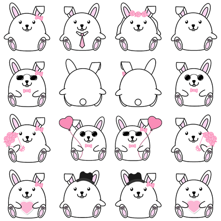 Lovely cute couple cartoon rabbit collection set with variety charactor isolate vector icon Illustration