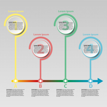 Coloful paper circle with time line arrow for website presentation cover poster vector design infographic illustration concept