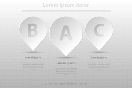 Three simple white 3D paper Tag location for website presentation cover poster vector design infographic illustration concept Illustration