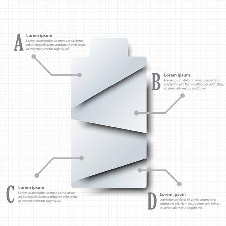 Batterie en papier blanc 3D simple avec quatre sujets pour la présentation du site Web affiche vecteur vectoriel concept d'illustration infographique