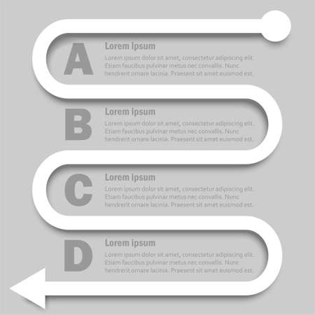 Simple white 3D paper arrow with four topics for website presentation cover poster vector design infographic illustration concept