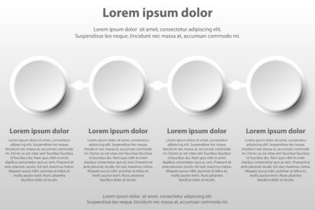 Four simple white 3d paper circles topic for website presentation cover poster vector design infographic illustration concept Illustration