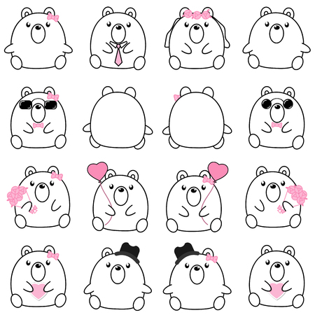 Lovely cute couple cartoon bear collection set with variety charactor isolate vector icon